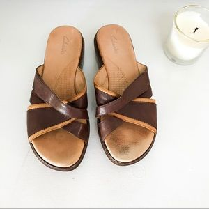 Clarks Brown Strappy Leather Sandals